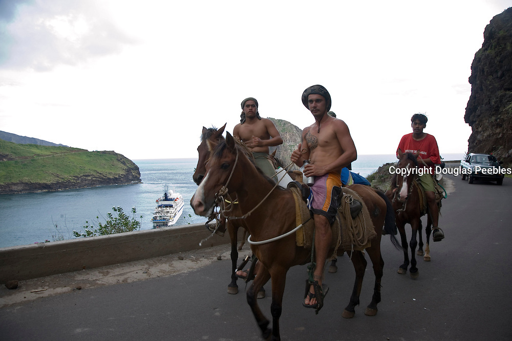 Riding horses, Ua Huka, Marquesas Islands, French Polynesia, (Editorial use only)<br />