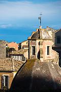 Church dome of historic Catholic church of Blessed Virgin of Carmel-Tenedo among rooftops in Kerkyra, Corfu Town, Greece