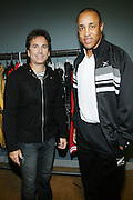 l to r: David Strumeier and John Starks at the South Pole Fashion show during ' The Stay in School Concert ' facilated by Entertainers for Education held at The Manhattan Center on October 28, 2008 in New York City