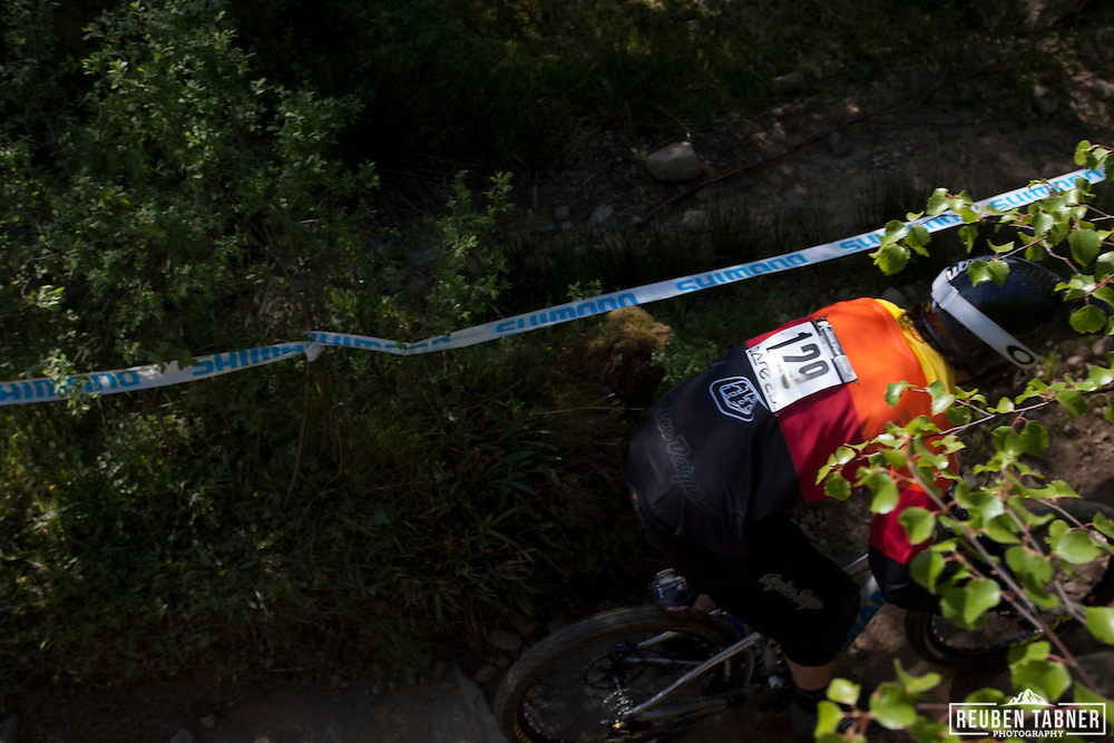 Ralph Jones (GBR) during the downhill qualifying round at the UCI Mountain Bike World Cup in Fort William, Scotland.