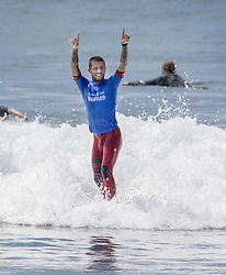 September 15, 2017 - San Onofre, California, USA - Filipe Toledo of Brazil throws his arms in the air after he defeated Jordy Smith of South Africa in the final of the Hurley Pro at Trestles held at San Onofre State Beach on Friday, August 15, 2017. (Credit Image: © Mark Rightmire/The Orange County Register via ZUMA Wire)