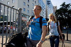 Athletes Matic Osovnikar  and Pia Tajnikar of Slovenia at departure back to Slovenia during day five of the 12th IAAF World Athletics Championships at the Hotel Estrel on August 18, 2009 in Berlin, Germany. (Photo by Vid Ponikvar / Sportida)