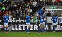 Fotball Tippeligaen Rosenborg - Molde<br /> 4 mai 2014<br /> Lerkendal Stadion, Trondheim<br /> <br /> <br /> <br /> Per Egil Flo har scoret 0-2 for Molde og kaster seg rundt halsen på Vegard Forren sammen med Harmeet Singh. Daniel Berg Hestad kommer også til fra venstre for å gratulere<br /> <br /> <br /> <br /> Foto : Arve Johnsen, Digitalsport