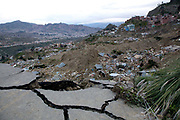View of ruined houses due to landslide, shot from a broken bridge. A major lansdlide in La Paz in 2011 made around 25,000 people homeless, due to heavy rain and poor infrastructure, there were no fatalities and only minor injuries sustained