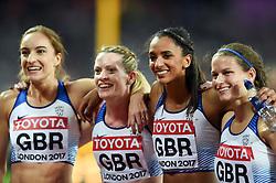 Emily Diamond, Eilidh Doyle, Laviai Nielsen and Zoey Clark of Great Britain celebrate their silver medal finish - Mandatory byline: Patrick Khachfe/JMP - 07966 386802 - 13/08/2017 - ATHLETICS - London Stadium - London, England - Women's 4x400m Metres Relay Final - IAAF World Championships