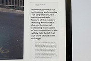 Specially selected text by Alain de Botton that accompanies a limited edition Lambda digital framed print created for an exhibition commissioned by and staged at The Museum of the History of Science in Oxford and including specially selected text by Alain de Botton from his 'The Pleasures and Sorrows of Work' book (Hamish Hamilton, 2009). <br /> <br /> The text is copyright Alain de Botton, 2009.<br /> <br /> For print sales enquiries email: richard(at)bakerpictures.com