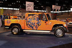 08 February 2007: 2007 International truck dressed in Chicago Bears paint. The Chicago Auto Show is a charity event of the Chicago Automobile Trade Association (CATA) and is held annually at McCormick Place in Chicago Illinois.