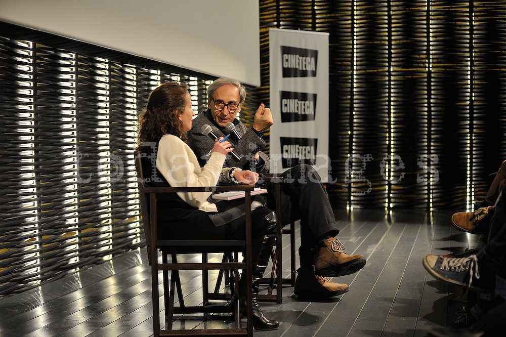 "Franco Batiatto presenting his last film ""Musikanten"" at the Cineteca, Madrid"