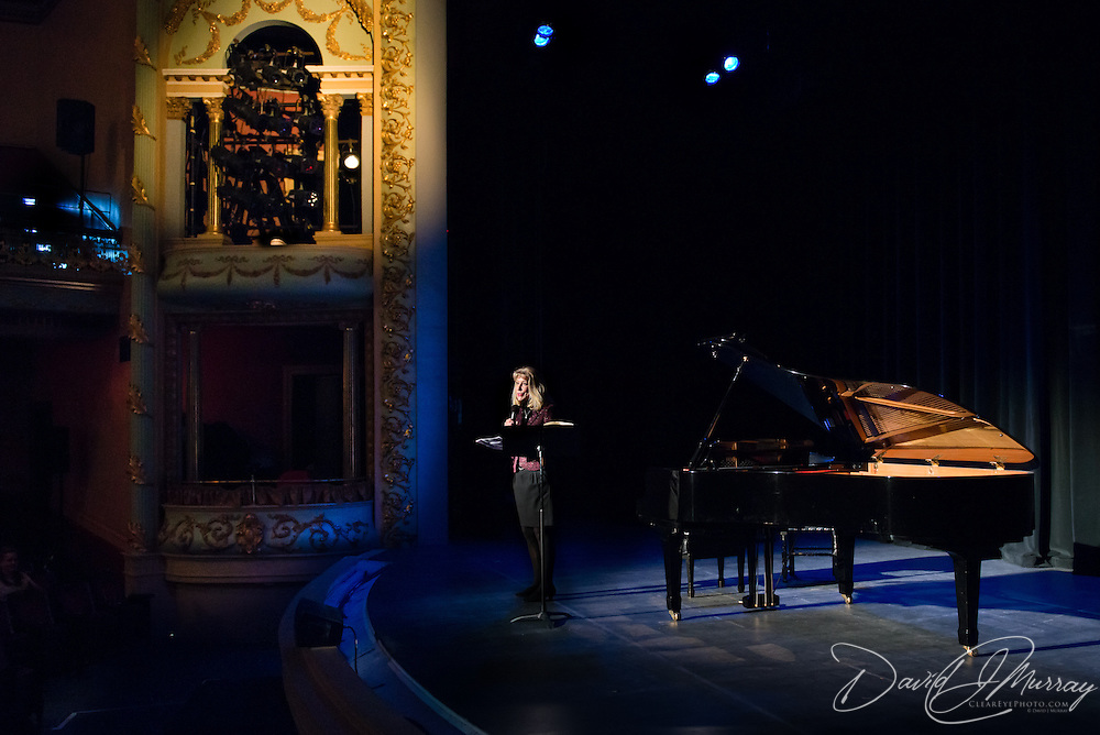Jude Blake introduces a performance by Joshua Bell and Sam Haywood at The Music Hall in Portsmouth, NH on March 1, 2013.