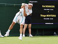 Tennis - 2019 Wimbledon Championships - Week One, Tuesday (Day Two)<br /> <br /> Men's Singles, 1st Round: Kei Nishikori (JPN) v Thiago Monteiro (BRA)<br /> <br /> Kei Nishikori  on Court 18<br /> <br /> COLORSPORT/ANDREW COWIE