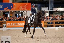 De Laat Femke, NED, Dark Pleasure<br /> KWPN Stallionshow - 's Hertogenbosch 2018<br /> © Hippo Foto - Dirk Caremans<br /> 02/02/2018