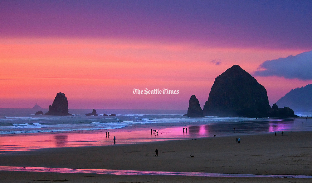 """Haystack Rock at Cannon Beach is a monolithic rock next to the beach. Tide pools around the rock support many intertidal animals, including starfish and sea anemones. The smaller formations next to Haystack are names the """"The Needles."""" (Mike Siegel / The Seattle Times)"""