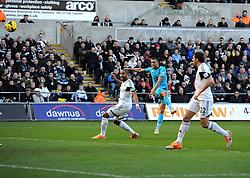 Tottenham Hotspur's Nacer Chadli volleys narrowly over - Photo mandatory by-line: Joe Meredith/JMP - Tel: Mobile: 07966 386802 19/01/2014 - SPORT - FOOTBALL - Liberty Stadium - Swansea - Swansea City v Tottenham Hotspur - Barclays Premier League