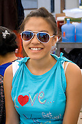 Attractive happy Hmong teen visiting the festival. Hmong Sports Festival McMurray Field St Paul Minnesota USA