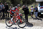 France, Sunday 12th April 2015: Greg van Avermaet (BMC Racing Team) on the Pont Gibus section of pave during the 2015 edition of the Paris Roubaix elite men's cycle race.