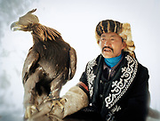 """A competitor and his master. The eagle is wearing its """"tomaga"""", the hood that blinds her... and the basis of its domestication.<br /> <br /> Eagle Hunting festival in Western Mongolia, in the province of Bayan Olgii. Mongolian and Kazak eagle hunters come to compete for 2 days at this yearly gathering. Mongolia"""