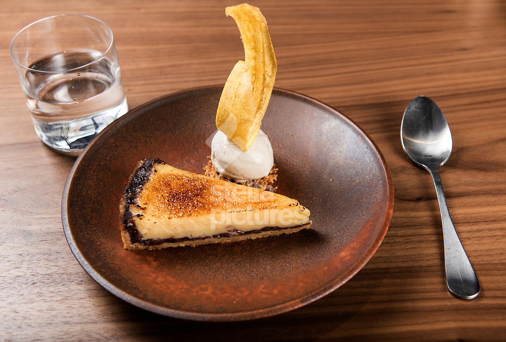 Bergamot tart with Japanese red bean, macadamia praline, banana ice cream at<br /> Flavour Bastard in Soho as part of restaurant review.<br /> Picture by Daniel Hambury/Stella Pictures Ltd 07813022858<br /> 04/09/2017