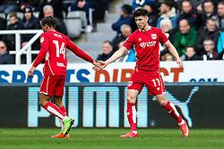 Bobby Reid and Callum O'Dowda of Bristol City celebrate after Aaron Wilbraham of Bristol Cityscores a goal to make it 0-1 - Rogan Thomson/JMP - 25/02/2017 - FOOTBALL - St James' Park - Newcastle, England - Newcastle United v Bristol City - Sky Bet EFL Championship.