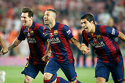 30.05.2015, Camp Nou, Barcelona, ESP, Copa del Rey, Athletic Club Bilbao vs FC Barcelona, Finale, im Bild FC Barcelona's Leo Messi, Jordi Alba and Luis Suarez celebrate the victory // during the final match of spanish king's cup between Athletic Club Bilbao and Barcelona FC at Camp Nou in Barcelona, Spain on 2015/05/30. EXPA Pictures © 2015, PhotoCredit: EXPA/ Alterphotos/ Acero<br /> <br /> *****ATTENTION - OUT of ESP, SUI*****
