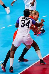 03-12-2019 JAP: Netherlands - Cuba, Kumamoto<br /> Third match 24th IHF Women's Handball World Championship, Netherlands win the third match against Cuba with 51- 23. / Danick Snelder #10 of Netherlands, Yennifer Amanda Toledo Abreu #34 of Cuba
