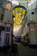 Bucharest, Romania architecture, street scene and cityscape roofed shopping arcade