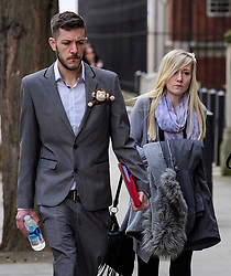 © Licensed to London News Pictures.05/04/2017.London, UK. CHRIS GARD and CONNIE YATES arrive at The Royal Courts of Justice in London where a High Court judge is due to rule on whether doctors can withdraw life-support treatment to their son, Charlie, who suffers from a rare genetic condition. Doctors at Great Ormond Street Hospital in London say eight-month-old Charlie should be left to die in dignity, but his parents have raised £1.2 million for specialist treatment in America.Photo credit: Ben Cawthra/LNP