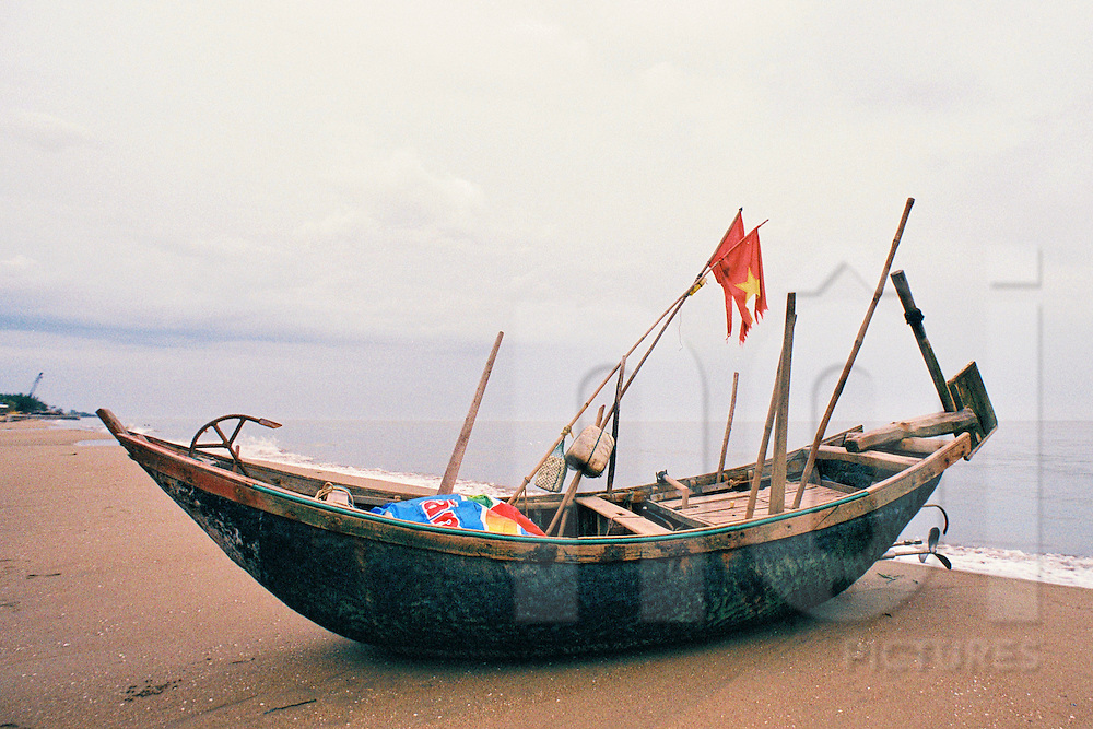 Fishing boat on a beach of Sam Son, Thanh Hoa Province, Vietnam, Southeast Asia, 2016