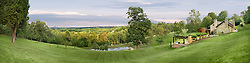Panorama of Leesburg ,Virginia countryside with stone house and grapevine tressel