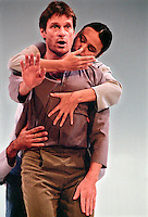 Baritone: Simon Keenlyside,and dancers: Brandi L. Norton, and Lionel Popkin in Schubert's Winterreise. Choreographed by Trisha Brown for Barbican. Lighting: Jenifer Tipton