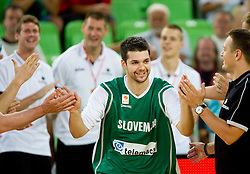 Saso Ozbolt of Slovenia during friendly basketball match between National teams of Slovenia and Montenegro of Adecco Ex-Yu Cup 2011 as part of exhibition games before European Championship Lithuania 2011, on August 7, 2011, in Arena Stozice, Ljubljana, Slovenia. Slovenia defeated Crna Gora 86-79. (Photo by Vid Ponikvar / Sportida)