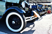 Vehicles on display.