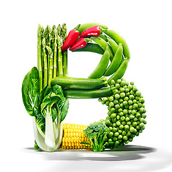 Healthy diet vegetbles in a shape of the letter B.