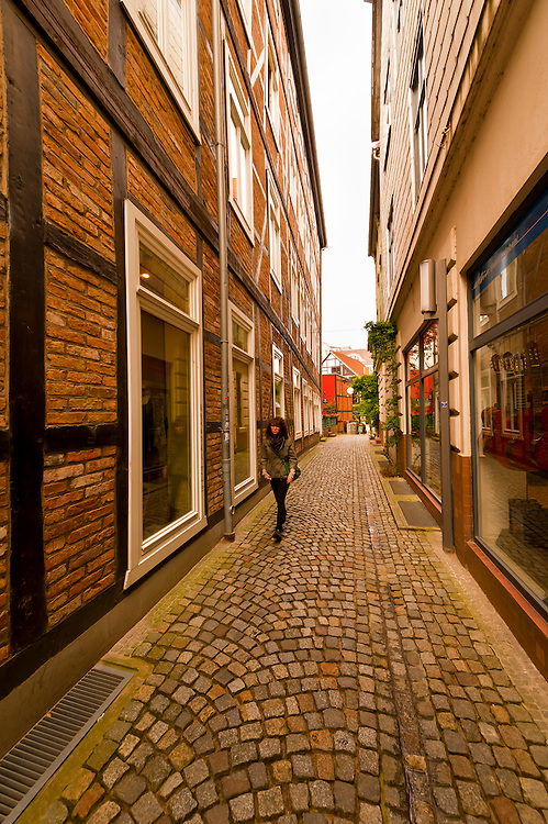 A narrow street in Schwerin, Mecklenburg-West Pomerania, Germany