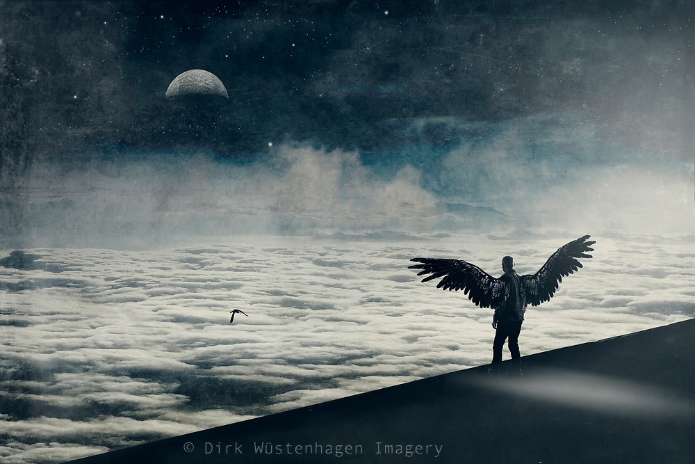 Angel looking at a cloudscape and pondering to fly - surreal composite image