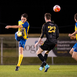 BRISBANE, AUSTRALIA - AUGUST 26: Jake Marshall of the Strikers kicks the ball during the NPL Queensland Senior Men's Semi Final match between Brisbane Strikers and Moreton Bay Jets at Perry Park on August 26, 2017 in Brisbane, Australia. (Photo by Patrick Kearney)