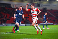 Herbie Kane of Doncaster Rovers (15) points his finger in the air in appeal for a corner during the EFL Sky Bet League 1 match between Doncaster Rovers and Southend United at the Keepmoat Stadium, Doncaster, England on 12 February 2019.