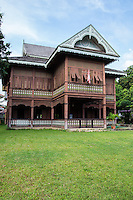 Vichai Racha House - The home was built by Chao Nhan Kat in 1898.  The house was handed down to his son, a forestry agent and the first member of the Thailand House of Representatives in Phrae.  Painted cream and green, it was designed in the gingerbread style, bult of teak with perforated design details and a Manila style roof with wooden shingles.