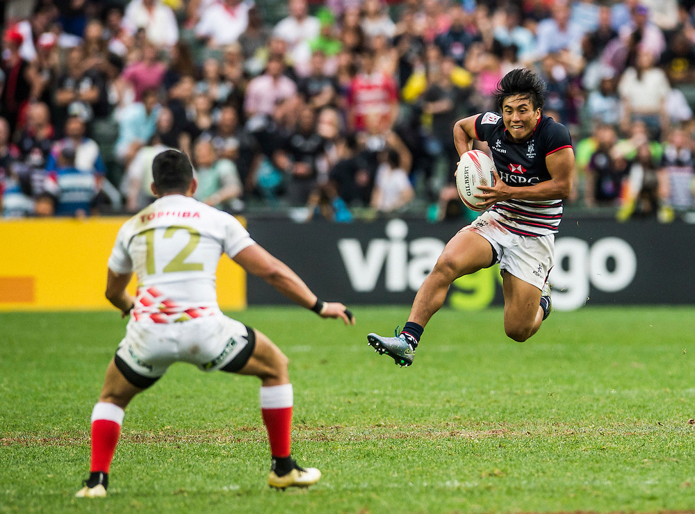 Hong Kong vs Japan during their Wold Rugby Sevens Series Qualifier match as part of the Cathay Pacific / HSBC Hong Kong Sevens at the Hong Kong Stadium on 10 April 2016 in Hong Kong, China. Photo by Mike Pickles / Future Project Group