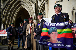 © Licensed to London News Pictures. 07/02/2017. London, UK. Former Royal Marines and supporters of Sergeant Alexander Blackman gather outside the Royal Courts of Justice in London, to show support for Sgt Blackman, who is due to start an appeal against his life sentence for the murder of a wounded Taliban fighter in Afghanistan in 2011.  Photo credit: Ben Cawthra/LNP