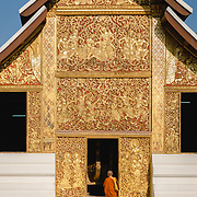 Monk at Wat Xieng Thong in Luang Prabang