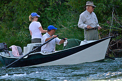 Liz and Dick Cheney Fly-fishing Southfork of the snake River in Swan Valley Idaho.