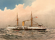 HMS Colossus, 1st class British battleship. Experimental design with main armament amidships, firing through the superstructure. Limited arc of fire.  Illustration by William Frederick Mitchell. Lithograph. 1892.