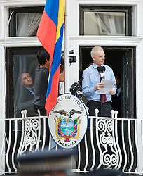 Julian Assange<br /> Wikileaks founder<br /> speaking from a balcony at the Republic of Ecuador Embassy <br /> in London, Great Britain <br /> 19th August 2012 <br /> <br /> Julian Assange <br /> <br /> <br /> Photograph by Elliott Franks