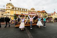 Disney performers and a street trolley on Main Street U.S.A., Magic Kingdom, Walt Disney World, Orlando, Florida USA