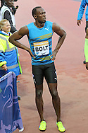 Usain Bolt of Jamaica after winning the 100m heat during the Sainsbury's Anniversary Games at the Queen Elizabeth II Olympic Park, London, United Kingdom on 24 July 2015. Photo by Ellie Hoad.