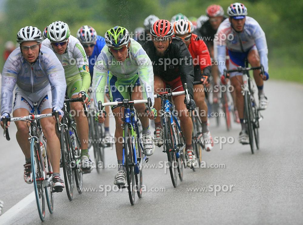 Jure Kocjan of Slovenia (Perutnina Ptuj), Franco Pellizotti of Italia (Liquigas) and Gerhard Trampusch of Austria (Elk Haus - Simplon) in last 4th stage of the 15th Tour de Slovenie from Celje to Novo mesto (157 km), on June 14,2008, Slovenia. (Photo by Vid Ponikvar / Sportal Images)/ Sportida)