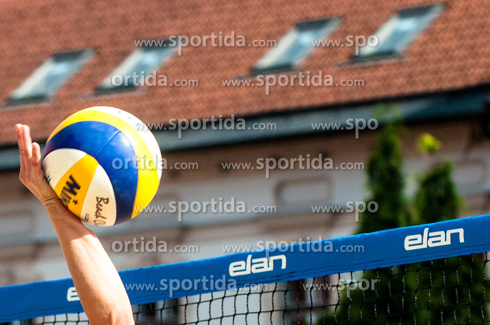 Ball and net at Beach Volleyball Challenge Ljubljana 2014, on August 2, 2014 in Kongresni trg, Ljubljana, Slovenia. Photo by Matic Klansek Velej / Sportida.com