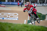 #129 (TANNO Kanami) JPN at Round 2 of the 2020 UCI BMX Supercross World Cup in Shepparton, Australia.