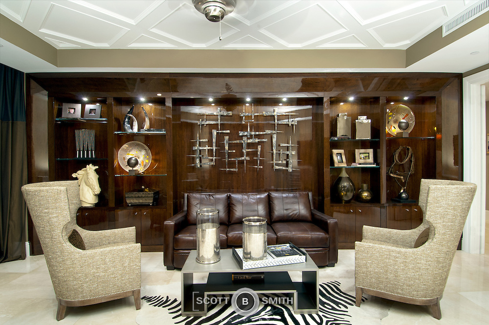 Custom designed wall unit in the Ritz-Carlton Residences at Singer Island, Florida, photographed for the owner and Schrapper's Custom Fine Cabinetry, Jupiter, Florida.
