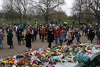 Tributes for Sarah Everard at Clapham Common in London, United Kingdom - 14 Mar 2021<br />  floral tributes to Sarah Everard are at Clapham Common, in London, 14 March 2021.Met Police chief urged to resign after 'disgraceful' clashes between officers and crowds attended a Reclaim These Streets vigil for Sarah Everard on the 13th of march that was officially closed closed by Metropolitan Police. police constable Wayne Couzens, 48, had appeared in court charged with the kidnapping and the killing of Sarah Everard who went missing 03 March while walking home from a friend's flat in south London.